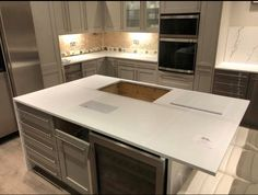 Designer White thick with a mouldered Champaign sink. Kitchen Worktop, Granite Kitchen, Kitchen Island, Corian Worktops, Corian Solid Surface, Work Tops, Cooker, Kitchen Design, Sink