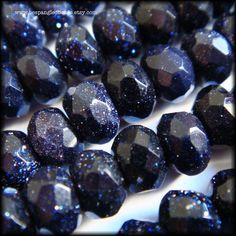 Blue Goldstone Faceted Rondelle Beads 6 x 4 mm one strand  #beading #jewelrymaking