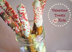 Homemade Valentines Day Gifts in a Jar - Candy Coated Pretzel Sticks - DIY Valentines Day Ideas