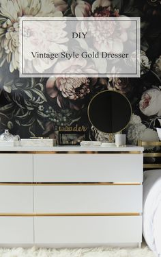Preciously Me blog : DIY - Ikea Hack, Customize and Glamorize a Malm dresser with gold contact paper. Looks like a beautiful vintage style brass accents credenza!