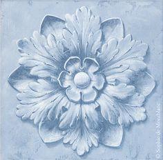 Rosace bleue (45x45cm) Grass Pattern, Baroque Design, Grisaille, Ornaments Design, Classical Art, Acanthus, Ceramic Flowers, Pattern And Decoration, Mural Art