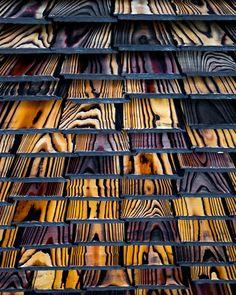 Pika-Pika: Yakisugi Charred Wood Siding in 2020 Woodworking Furniture, Woodworking Crafts, Woodworking Plans, Woodworking Techniques, Wood Table Design, Charred Wood, Furniture Painting Techniques, Deco Originale, Wood Siding