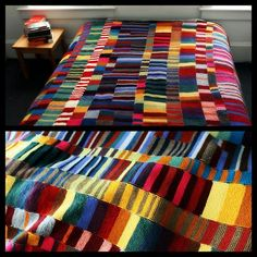 """DIY Colorful Knit Blanket. No pattern, no pressure. Just use up your yarn and knit scarves using the garter stitch (knit every row) and seam them together. A good post on knitting what you love."""