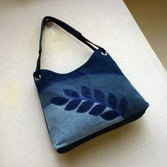 denim applique purse