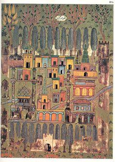 Matrakçı Nasuh-Beyan-i Menazil-i Sefer-i Irakeyn-i Sultan Suleyman, written circa (Istanbul University Library) Medieval, Vintage Maps, Antique Maps, Illustrations, Illustration Art, Middle Eastern Art, Turkish Art, Mont Saint Michel, Old Maps