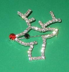 Rhinestone reindeer pin