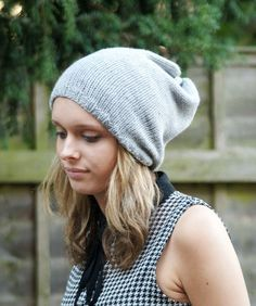 Grey++Gray+Oversized+Knitted+Vegan+Hippie+Tam+by+slouchiehats,+$25.00