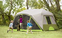 The Ozark Trail Nine-Person Instant Cabin Tent with Screen Room has a unique structure with large screen room across the front of the tent. Setup takes under two minutes and requires no assembly because the poles are pre-attached to the tent, just unfold and extend. Available at Walmart.com.