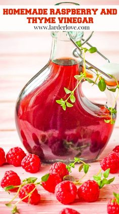 super easy raspberry and thyme vinegar. This infused fruit vinegar is esy to make and perfect on summer salads and fruit salads too. It's great as a summer drink too. #raspberry vinegar #infused vinegar #fruit vinegar #larderlove Refreshing Drinks, Summer Drinks, Summer Salads, How To Make Vinegar, Scottish Recipes, Real Food Recipes, Drink Recipes, Homemade Spices, Infused Oils