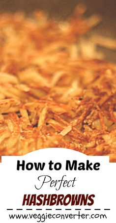 Learn how make the perfect crispy hashbrowns. Say goodbye to soggy hashbrowns forever. This tip will make perfect hashbrowns every time. Vegetarian Recipes Easy, Whole Food Recipes, Cooking Recipes, Milk Recipes, Cooking Tips, Vegetable Dishes, Vegetable Recipes, Potato Recipes, Potato Dishes