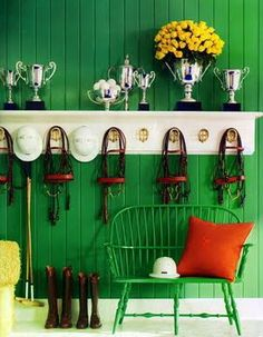 Love the fancy green wall in the tack room!