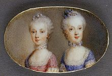 1764, Archduchesses Maria Antonia (in pink dress) and Maria Carolina (in blue dress). Watercolor on ivory by Antonio Pencini, 1764. Vienna, Hofburg