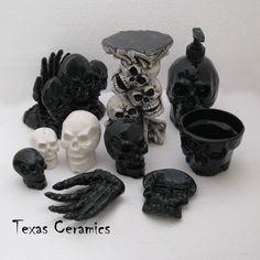 Black Skull Pump Dispenser Bottle Ceramic Halloween Horror Decor for the bathroom.