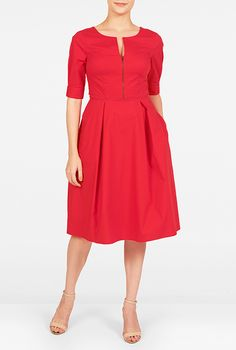 I <3 this Zip front stretch poplin dress from eShakti