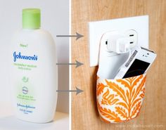 Turn an empty lotion bottle into a container that holds your phone while it's charging!