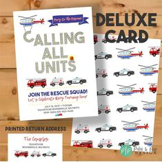 This Emergency Vehicle Boy Birthday Invitation is perfect for your little boys firetruck, police car, rescue helicopter and ambulance birthday party