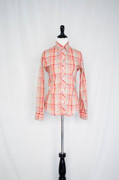 Vintage 1970's 'Take It To The Limit' Ultra - Thin Plaid Western Style Button Down Shirt Size S / M by BeehausVintage on Etsy