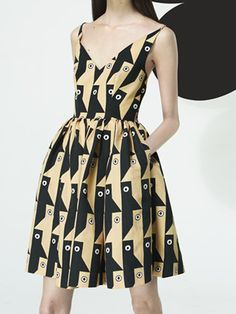 V-neck Abstract Patterned Pouf Dress | Choies