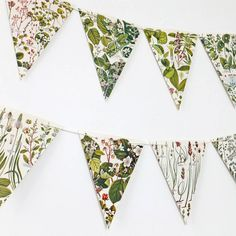 Botanical Bunting Paper not fabric. This gorgeous botanical bunting is perfect for a wedding, bridal shower or anniversary. Hang it anywhere in your home to bring a little of the outside in. Paper Bunting, Bunting Garland, Diy Bunting, Bunting Ideas, Buntings, Photo Bunting, Fabric Bunting, Bunting Flags, Wedding Bunting