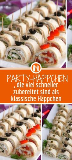 Party appetizers that are prepared much faster than classic appetizers - DESSERT - Appetizers for party Party Finger Foods, Snacks Für Party, Finger Food Appetizers, Healthy Appetizers, Appetizers For Party, Appetizer Recipes, Game Party, Tortilla Wraps, Drink Party