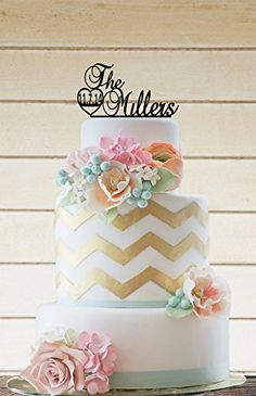 The Millers Wedding cake topper Aprox Measures,Personalized Family Name and Big Date Number Cake Topper.