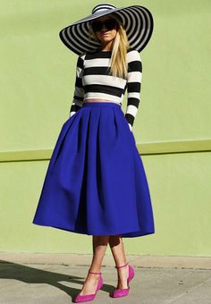 Blue Flare Pleated Midi Skirt -SheIn(Sheinside) Mobile Site