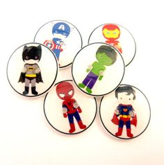 6 Assorted Super Hero Buttons. 3/4 or 20 mm. by buttonsbyrobin