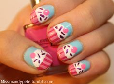 cupcake nails | Tumblr -- i just love these all the time