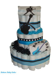 RockStar Baby Boy Diaper Cake Baby Diaper Cakes by BottomBabyCakes