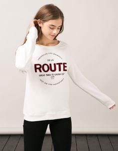 BSK sweatshirt with faux suede appliqué text - Sweatshirts - Bershka United Kingdom