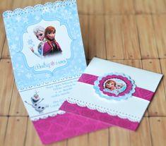 Convite Frozen - Bordado com selo