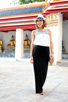 Bangkok, Thailand: Maxi Skirt + Embroidered Top