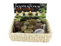 """Inspirational Stones Countertop Display, 108 - People like to keep inspirational stones like these on their desks, in their cars and anywhere they can see them and be uplifted by the message. These stones each contain one word. Selection includes the following messages: happiness, peace, faith, joy, hope, pray, love, health, trust, forgive, rejoice, or friendship. Sizes and shapes vary, but rocks average 2"""" in diameter. Comes packaged in a natural woven box display with 36 pieces.-Colors…"""