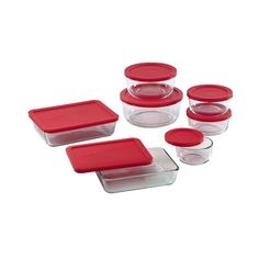 Pyrex 14-Piece Storage Set with Red Lids ($40) ❤ liked on Polyvore featuring home, kitchen & dining, food storage containers, food storage set, storage set, pyrex storage set, rectangular food storage containers and pyrex