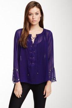 Nicole Miller Nicole Miller Shoshanna Mirrored Silk Blouse