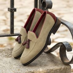 Custom Made Men's Goodyear Flex Loafer in Sand and Oxblood Suede Custom Design Shoes, Custom Shoes, Penny Loafers, Loafers Men, Calf Leather, Red Leather, Shoe Tree, Goodyear Welt, Hot Shoes