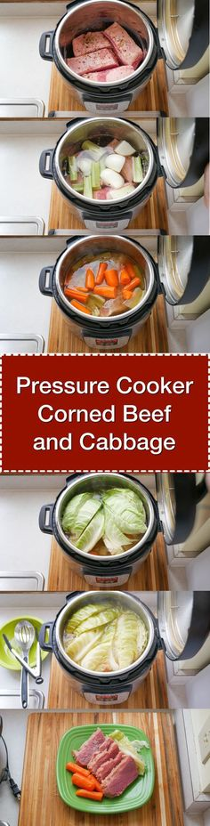 Pressure Cooker Corned Beef and Cabbage - done in about an hour and a half, thanks to the pressure cooker. Perfect for St. Patrick's Day. via @DadCooksDinner