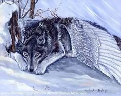 GICLEE WOLF PRINT; Fantasy, wolf with wings, winter, snow, wilderness, wildlife…