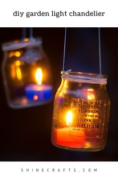 Hanging Jar Candle Lights is part of Upcycled Crafts Garden Tutorials - Hanging Jar Candle Lights is a great DIY Outdoor lighting idea for your garden or patio This Garden Lantern Chandelier will make your place warm and cozy Hanging Jars, Hanging Candles, Diy Hanging, Hanging Lights, Backyard Lighting, Outdoor Lighting, Lighting Ideas, Mason Jar Lamp, Candle Jars