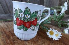 1970s Strawberry Coffee Mug Cup White Vintage by bohemianzvintage, $5.00