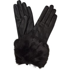 Ted Baker Jania Faux Fur Leather Gloves , Black ($54) ❤ liked on Polyvore featuring accessories, gloves, black, ted baker, faux fur gloves, leather gloves and ted baker gloves