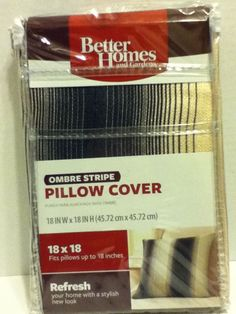 Pillow Covers Home Decor  2 Browns   Ombre Stripe 18 X18 100% Polyester Style  #PillowDcor