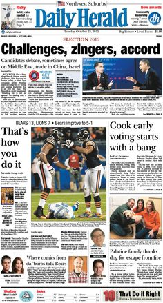 Daily Herald front page, Oct. 23, 2012