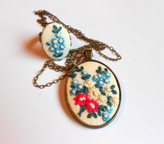 Flower Necklace Cottage Chic Cocktail ring Fabric jewelry Unique gifts  for mom