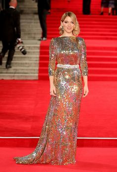 Léa Seydoux stunned in this metallic Prada gown.