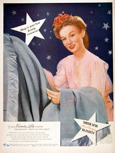 1944 North Star Blanket Veronica Lake Star Celebrity All Wool Beauty Rest Ad Vintage Artwork, Vintage Prints, Vintage Advertisements, Vintage Ads, Vintage Linen, Chris Craft Boats, Star Blanket, Veronica Lake, Free Ads