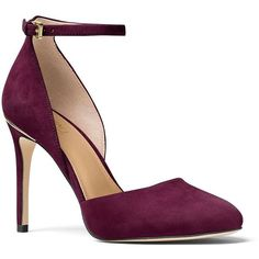 Michael Michael Kors Georgia Suede Stiletto Pumps ($108) ❤ liked on Polyvore featuring shoes, pumps, heels, plum, almond toe pumps, stiletto high heel shoes, stiletto shoes, ankle strap stilettos and plum pumps