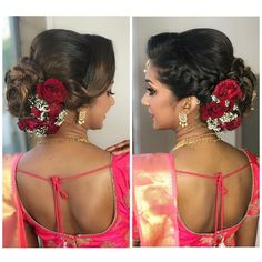 Bridal Hairstyle Indian Wedding, Unique Wedding Hairstyles, Bridal Hair Buns, Bridal Hairdo, Indian Wedding Hairstyles, Saree Hairstyles, Bride Hairstyles, Pretty Hairstyles, Engagement Hairstyles
