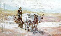 The oil painting the Ox Cart ('Carul cu Boi') by the Romanian painter Nicolae Grigorescu was sold for EUR at the auction organized by Artmark at the Bucharest Opera House. Bull Painting, Figure Painting, Painting & Drawing, Russian Painting, Art Database, Oil Painting Reproductions, High Art, Impressionism Art, Famous Artists