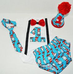 Boy Dr Seuss cake smash outfit with party hat, Cat in the Hat birthday outfit, 1st 2nd 3rd birthday, Boys cake smash outfit, Dr Seuss Banner by RYLOwear on Etsy https://www.etsy.com/listing/210062040/boy-dr-seuss-cake-smash-outfit-with